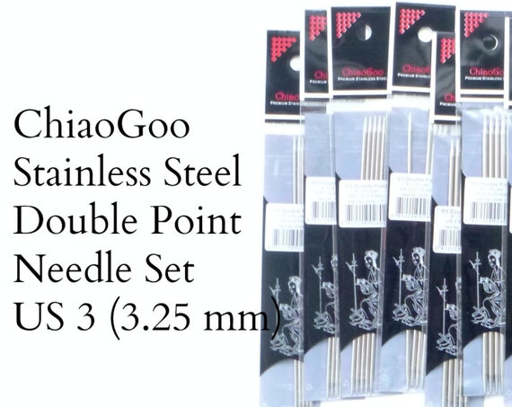 "ChiaoGoo Stainless Steel Double Pointed Needles - US 3 - 3.25 mm - set of 5 - 6"" length (15 cm)"