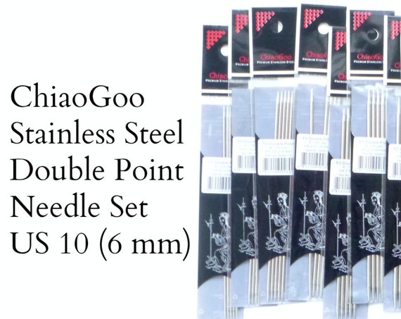 "ChiaoGoo Stainless Steel Double Pointed Needles - US 10 - 6 mm - set of 5 - 6"" length (15 cm)"