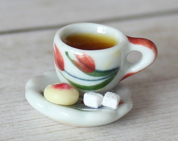 Hot Tea & Jam Cookie Charm - Stitch Marker - Miniature food - Progress Keeper - Polymer Clay Charm - Ready to ship