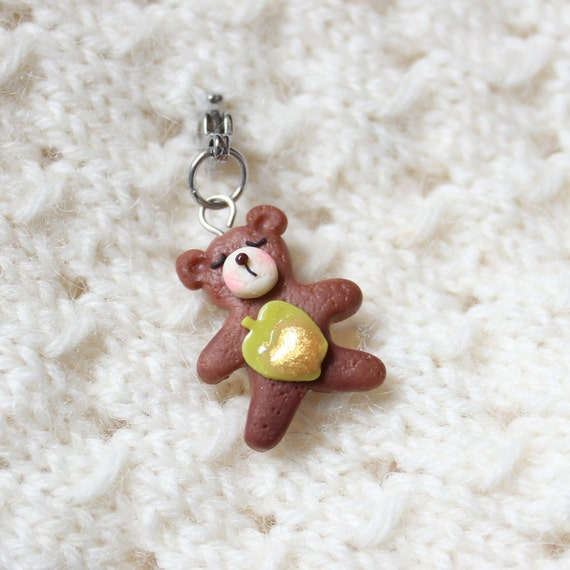 Chocolate Bear Cookie Charm, Food Jewelry, Progress Keeper, Stitch Marker,