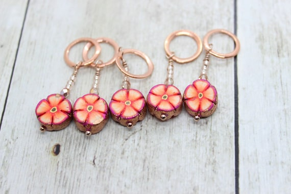 Rose Gold Sunset Flower Stitch Markers - Polymer Clay