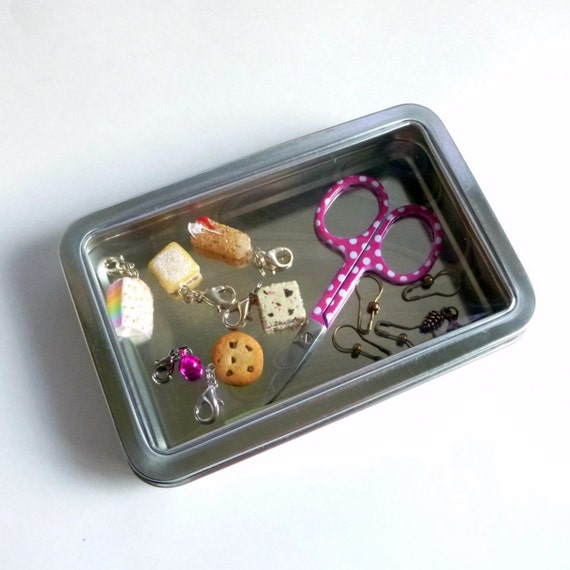 "Hinged Notions Tin with Clear Window Top - 5.5"" by 3.7"" Rectangular Hinged Window Tin - Knitting Notions Storage Case"