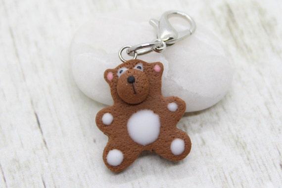 Gingerbread Bear Charm, Food Jewelry, Progress Keeper, Stitch Marker