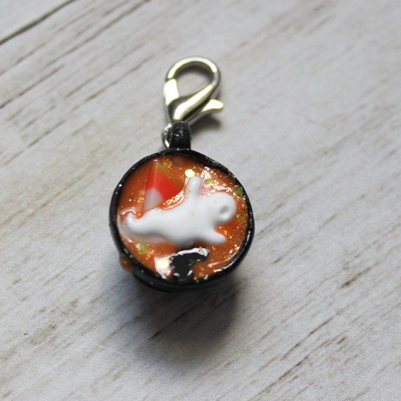 Halloween Hot Cocoa Charm, Food Jewelry, Progress Keeper, Stitch Marker, Thanksgiving Charm