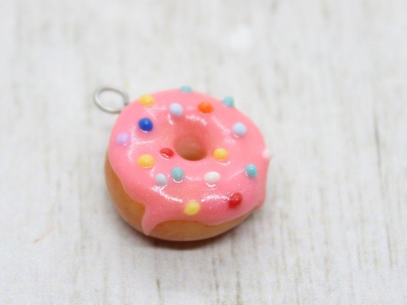 Pink Frosted Doughnut Charm - Stitch Marker - Progress Keeper - Bracelet Charm - Ready to ship