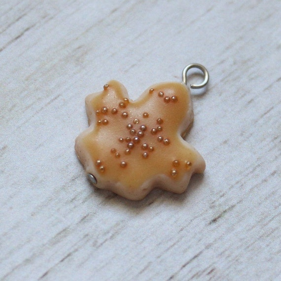 Maple Leaf Glazed Sugar Cookie Charm, Food Jewelry, Progress Keeper, Stitch Marker,
