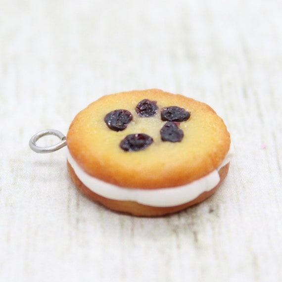 Raisin Creme Pie Snack Cake Charm - Polymer Clay Stitch Marker - Progress Keeper - Bracelet Charm - Ready to ship