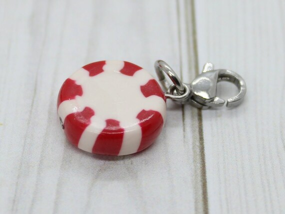 Peppermint Candy Charm - Stitch Marker - Progress Keeper - Bracelet Charm - Ready to ship