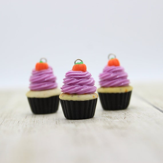 2019 Halloween Cupcake Charm - Polymer Clay Stitch Marker - Progress Keeper - Bracelet Charm