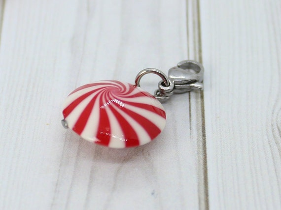 Peppermint Swirl Candy Charm 20 stripes - Stitch Marker - Progress Keeper - Bracelet Charm - Ready to ship