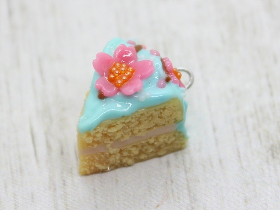 Cherry Blossom Cake Slice Charm - Stitch Marker - Progress Keeper - Scissor Fob Charm - Ready to ship