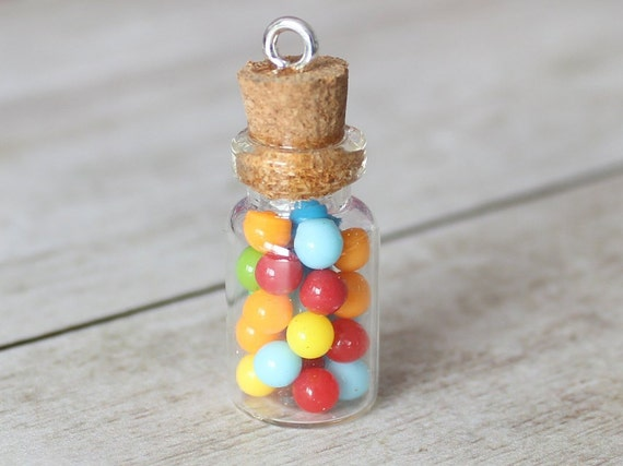 Bubblegum Jar Charm - Stitch Marker - Miniature food - Progress Keeper - Polymer Clay Charm - Ready to ship