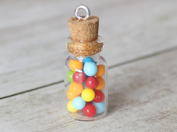 Bubblegum Jar Charm - Stitch Marker - Miniature food - Progress Keeper - Polymer Clay Charm - Ready to ship