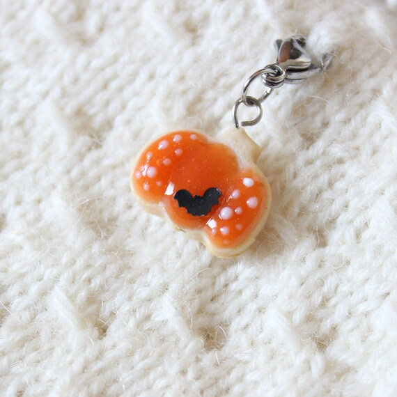 2019 Halloween Pumpkin Cookie Charm - Polymer Clay Stitch Marker - Progress Keeper - Bracelet Charm - Made to Order