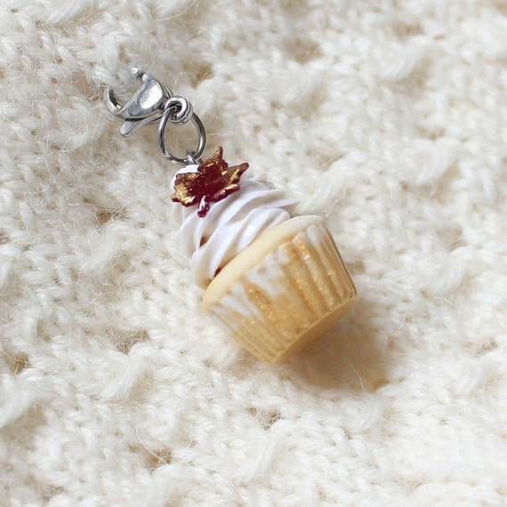 Vanilla Cupcake Fall Maple Leaf Charm, Food Jewelry, Progress Keeper, Stitch Marker,
