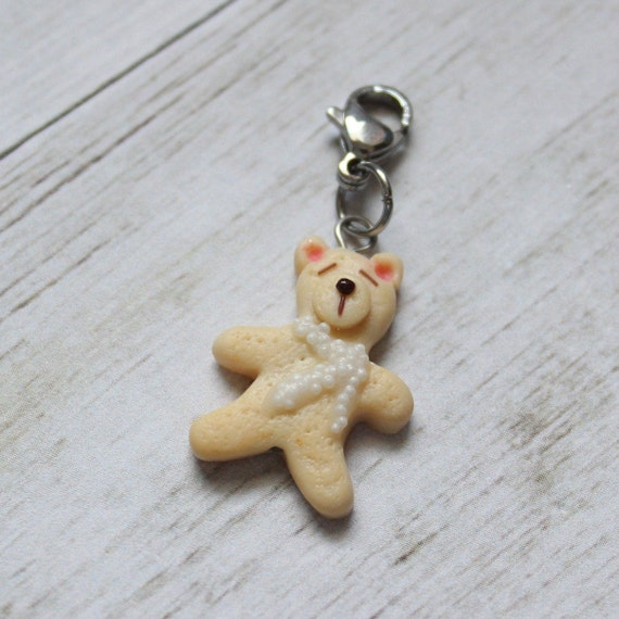 Polar Bear Cookie Charm, Food Jewelry, Progress Keeper, Stitch Marker