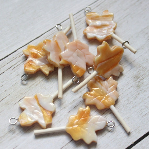 SECONDS PSL Maple Leaf Lollipop Charm, Food Jewelry, Progress Keeper, Stitch Marker, Pendant