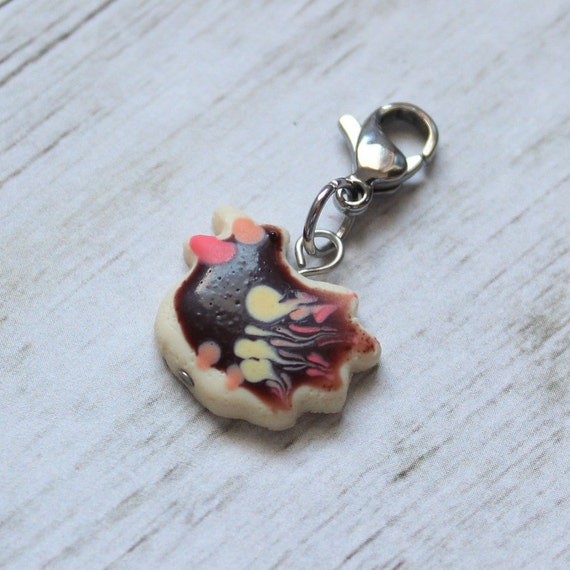 Turkey Cookie Charm, Food Jewelry, Progress Keeper, Stitch Marker, Thanksgiving Charm