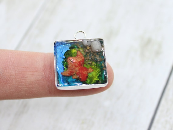 Goldfish Pond Charm - Stitch Marker - Progress Keeper - Scissor Fob Charm - Ready to ship