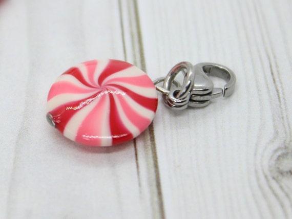 Peppermint Swirl Candy Charm Pink & Red - Stitch Marker - Progress Keeper - Bracelet Charm - Ready to ship