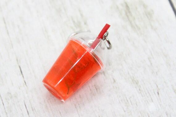 Rose Tea To Go Charm, Food Jewelry, Progress Keeper, Stitch Marker, Christmas Charm