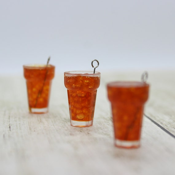 Iced Tea Drink Charm - Stitch Marker - Miniature food - Progress Keeper - Polymer Clay Charm - Ready to ship