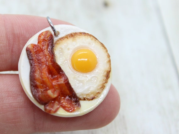 Fried Egg & Bacon Plate Charm - Stitch Marker - Progress Keeper - Scissor Fob Charm - Ready to ship