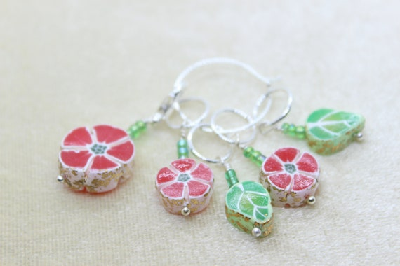 Set of 5 Botanical Stitch Markers (red) - Stitch Marker - Progress Keeper - Bracelet Charm - Ready to ship