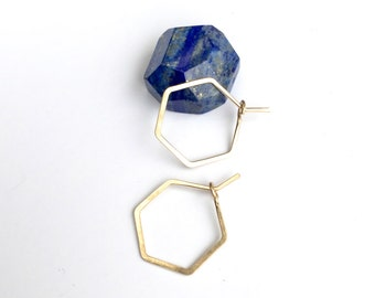 PETITE HEXAGON HOOPS - Little Hexagon Geometric Hammered Hoop Earrings - 14k Gold or Rose Gold Filled, Sterling Silver Hexagon Earrings