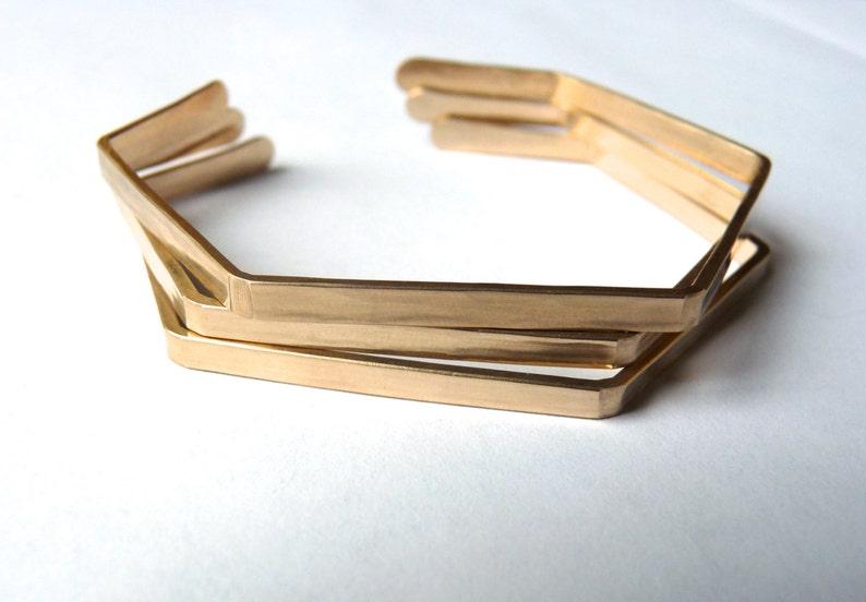 HEXAGON BRACELET  Bronze Sterling Silver or Gold Geometric image 0