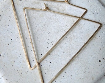 LARGE TRIANGLE HOOPS - Big Hammered Gold Triangle Hoop Earrings - Big Silver Triangle Hoops - Geometric Hammered Hoops