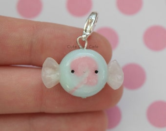 Kawaii Cotton Candy Taffy, Pink and Blue Taffy, Polymer Clay Charm, Handmade Polymer Clay Jewelry