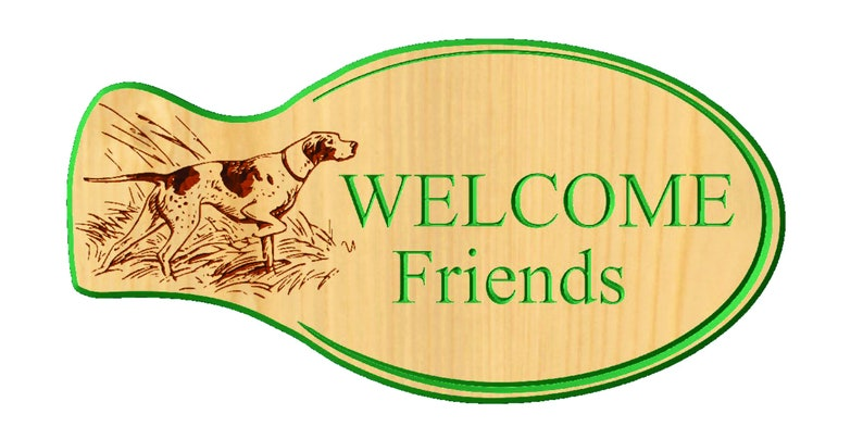 Hunting dog welcome sign 2 5 D image, CNC router g code files immediate  download g-code files, unlock power hidden in your CNC machine