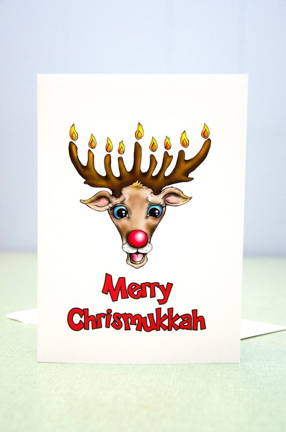 Chrismukkah Card Chanukah and Christmas Greeting Card | Etsy