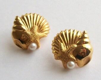 c34847ec3 JUNE SALE Beautiful Gold Toned Beach Themed Avon Earring Set Seashell Starfish  Gold Post Earrings Vintage Earrings Detailed Figural Earrings