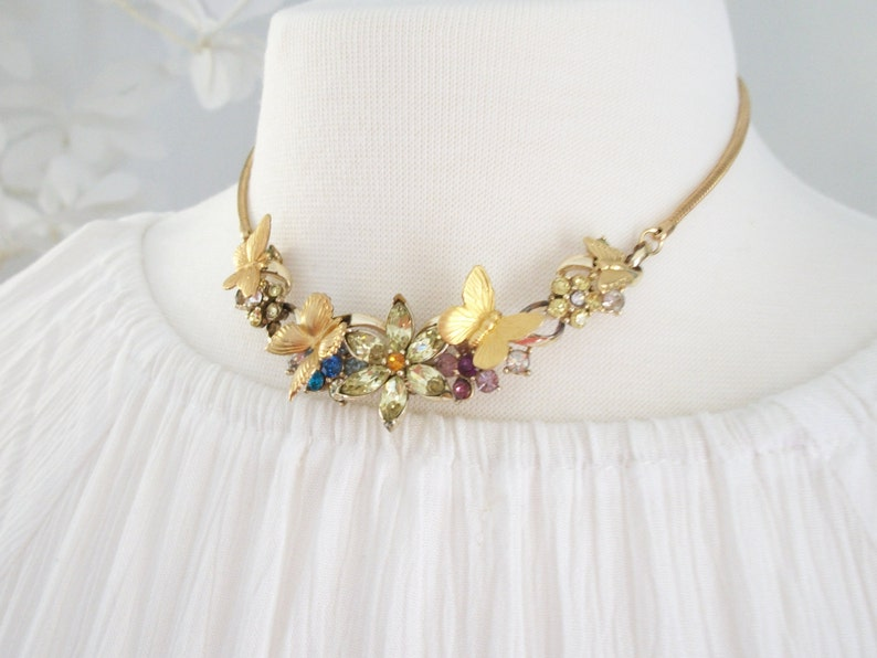 SUMMER SALE Vintage Repurposed Assemblage Choker Flower Butterfly Choker Necklace Pink Yellow Blue Colored Necklace 12 Inches