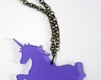 Laser cut acrylic unicorn pendant necklace in purple pink gold and silver