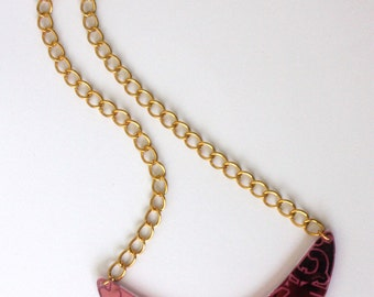 80's inspired pink mirror acrylic laser cut bib necklace