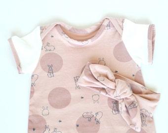 Polka dot rabbit baby romper jersey size NB 0 3m 6m 9m 12m 18m 24m