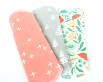 Organic Set of 3 Cloth Panty Liners 7.5inch Story Time Cotton x White Flannel