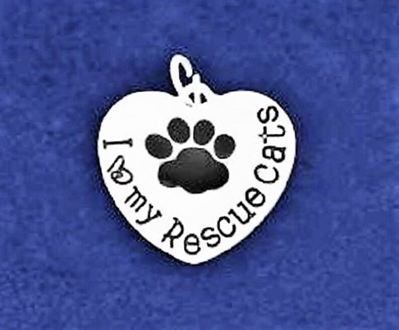 Cat Charm Pendant Kitty Charm Antique Silver Cat Rescue Charm