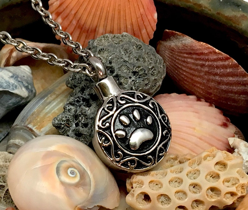 Paw Print Pet Urn Necklace Pendant Jewelry Holds Ashes Cat Dog Cremation With or Without Chain Stainless Steel Memorial Gift Celtic Filigree