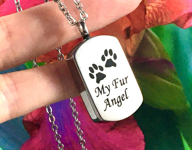 My Fur Angel Paw Print Pet Cremation Urn PENDANT OR NECKLACE Ash Jewelry Ashes Best Friend Cat Dog Holds Cremains Memorial Gift Loss Loved