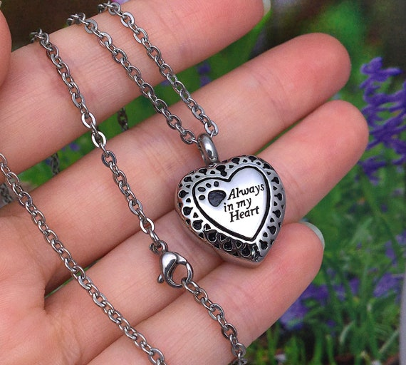 Circle Ring Heart Pendant Urn Necklace for Cremation Ashes WK Always in My Heart