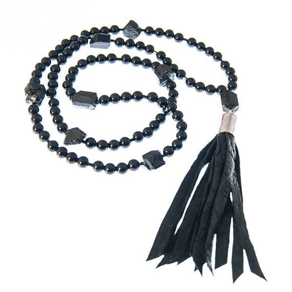 1842c8617eabcc Long black onyx and tassel necklace gothic beads boho beads | Etsy