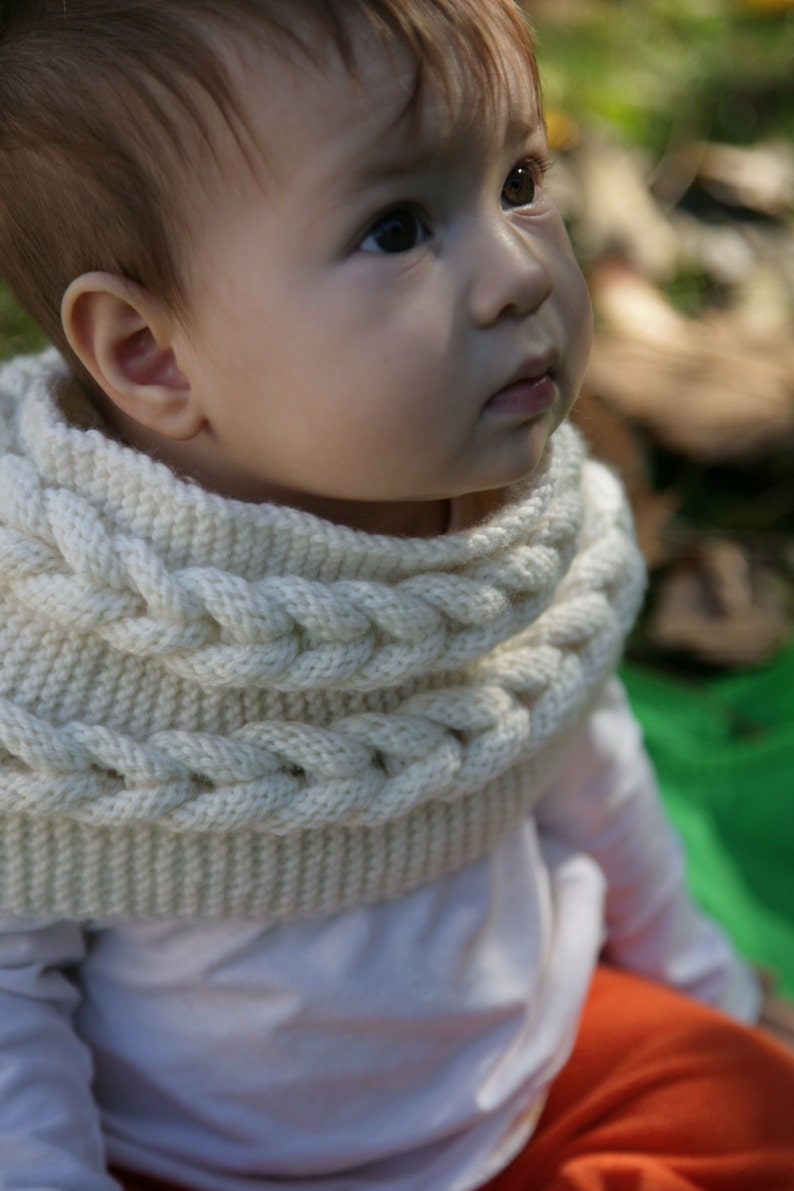 Knitting Pattern Bulky Cable Cowl neck warmer baby child ...
