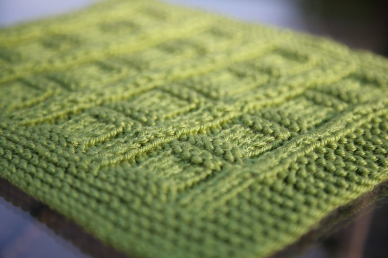 Green Mama Squares Baby Blanket Afghan Textured Knit Etsy