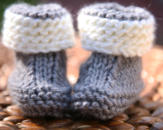 Super Easy Knitting Pattern Baby Booties Newborn 3 Months Etsy