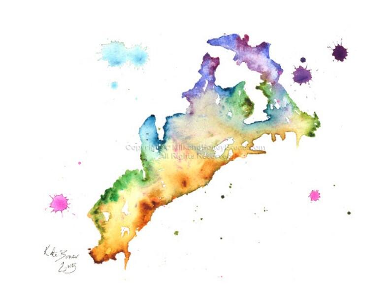 Amalfi Map Amalfi City Amalfi Coast Print Of Watercolor Map