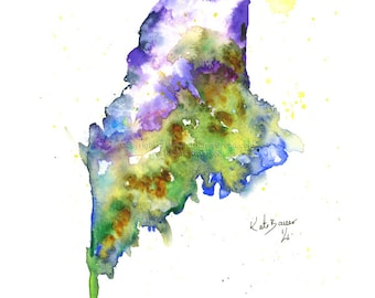 Maine Map - Print of watercolor illustration